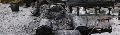 Nigerian Navy Destroys Illegal Oil Refineries