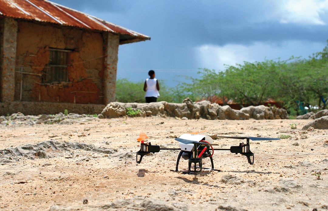 Una Hakika organizers intend to deploy multirotor and fixed-wing humanitarian drones in the Tana Delta, such as this one preparing for a test flight in Kibusu, Tana River County, Kenya. DREW BOYD/THE SENTINEL PROJECT