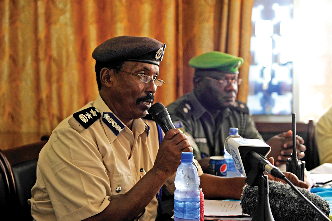 Col. Yousef Mohamed Farah of the Somali Police Force speaks at a town hall meeting on community policing in Mogadishu.